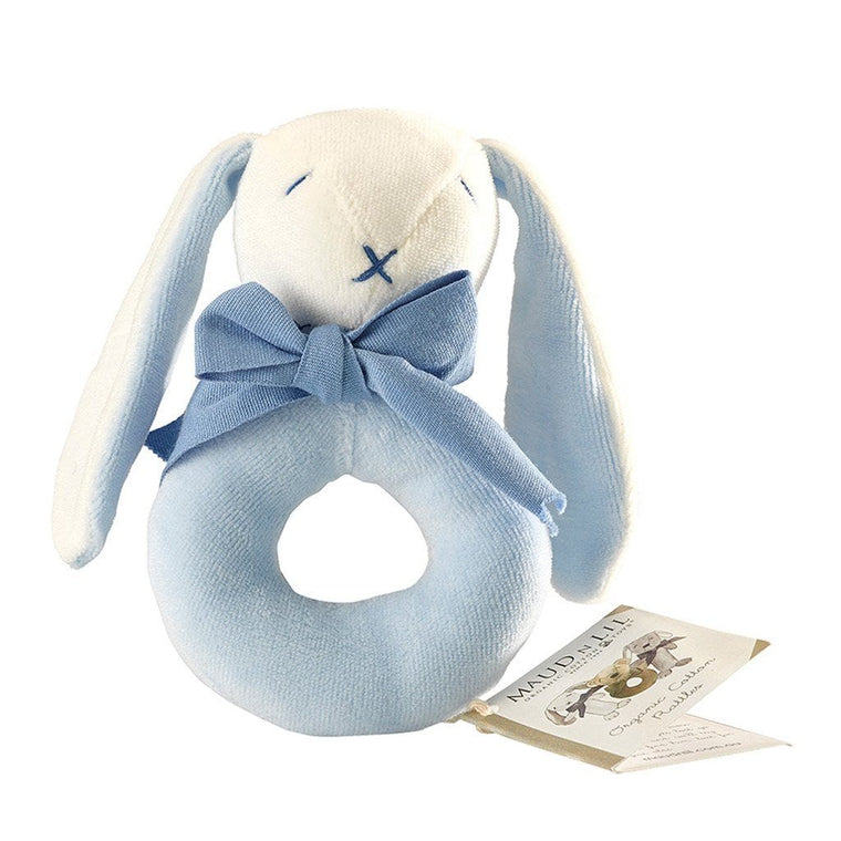 Maud n Lil Organic Cotton Donut Rattle - Oscar the Blue Bunny