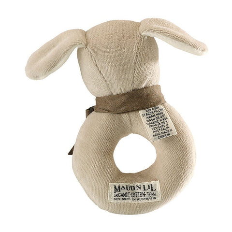 Maud n Lil Baby Ring Rattle (Organic) - Paws the Grey Puppy - Ecosprout - New Zealand
