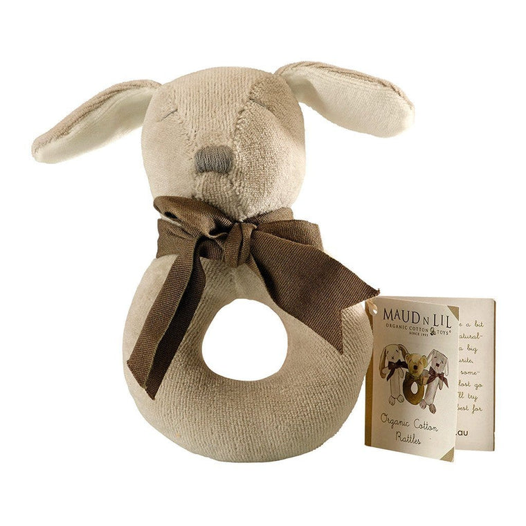 Maud n Lil Baby Ring Rattle (Organic) - Paws the Grey Puppy