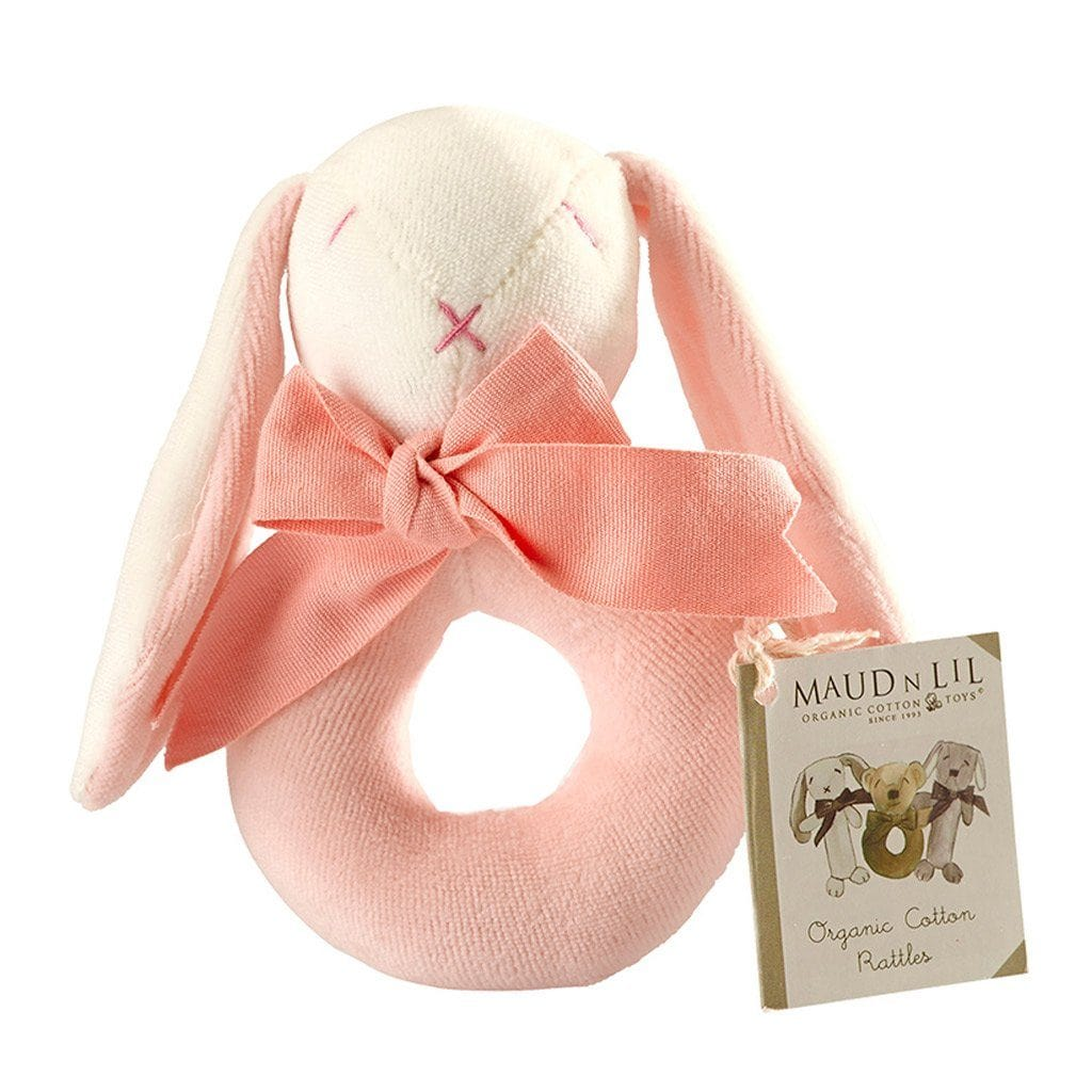 Maud n Lil Baby Ring Rattle (Organic) - Rose the Pink Bunny - Ecosprout - New Zealand