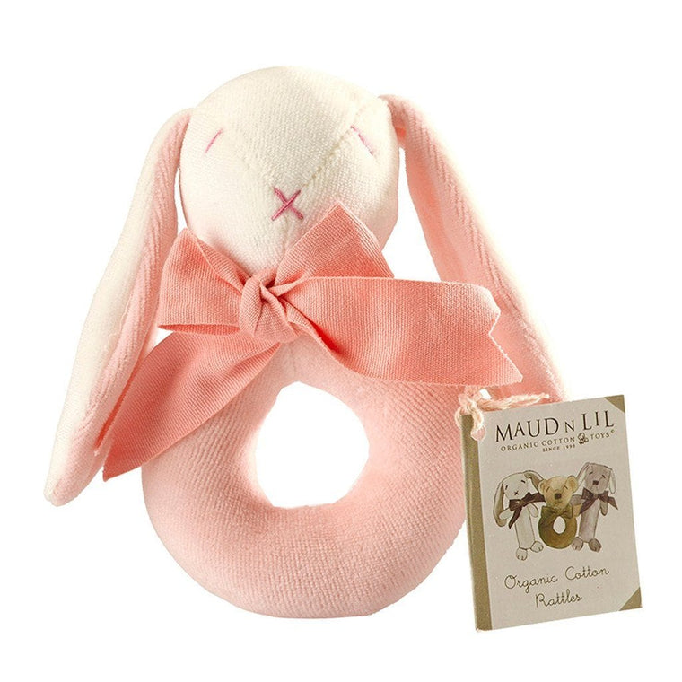 Maud n Lil Baby Ring Rattle (Organic) - Rose the Pink Bunny