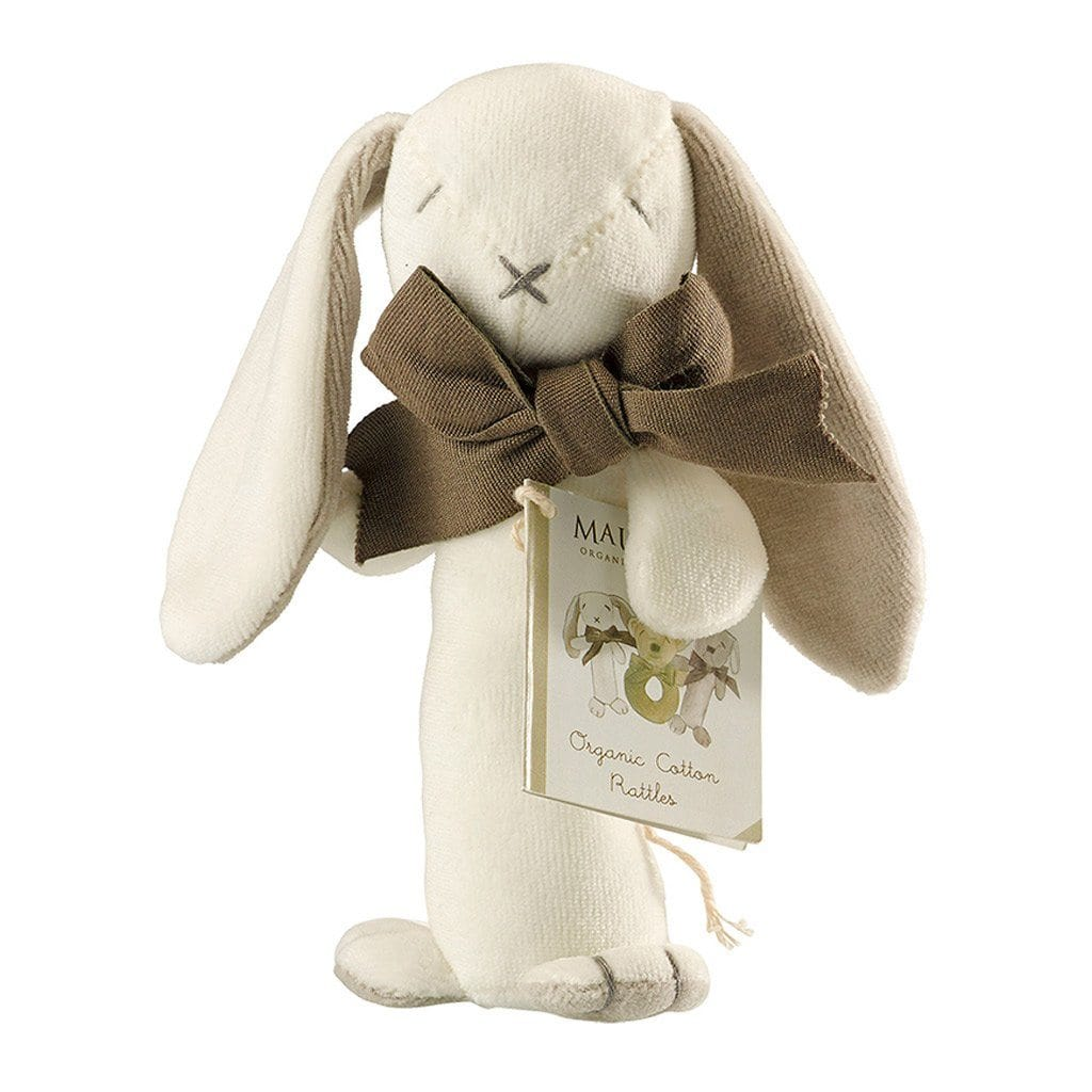 Maud n Lil Organic Cotton Stick Rattle - Ears the Grey Bunny - Ecosprout - New Zealand