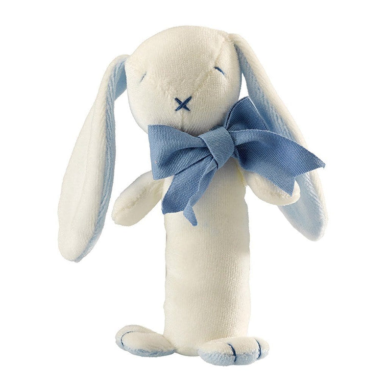 Maud n Lil Organic Cotton Stick Rattle - Oscar the Blue Bunny