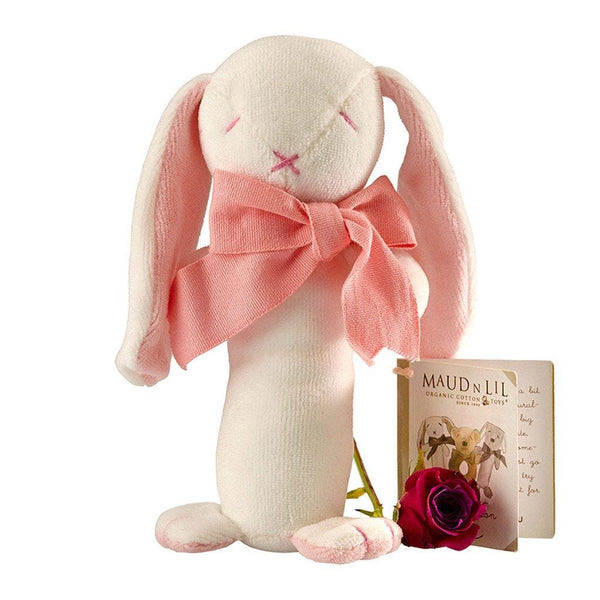 Maud n Lil Organic Cotton Stick Rattle - Rose the Pink Bunny - Ecosprout - New Zealand