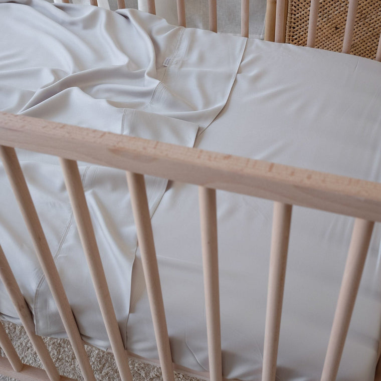 Organic Bamboo Cot Flat Sheet : Dove Grey