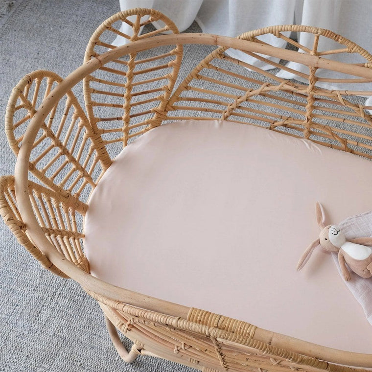 Organic Bamboo Bassinet Fitted Sheet : Blush