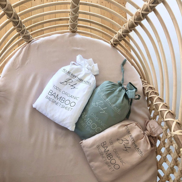 Organic Bamboo Bassinet Fitted Sheet : Blush Sheet Mulberry Threads
