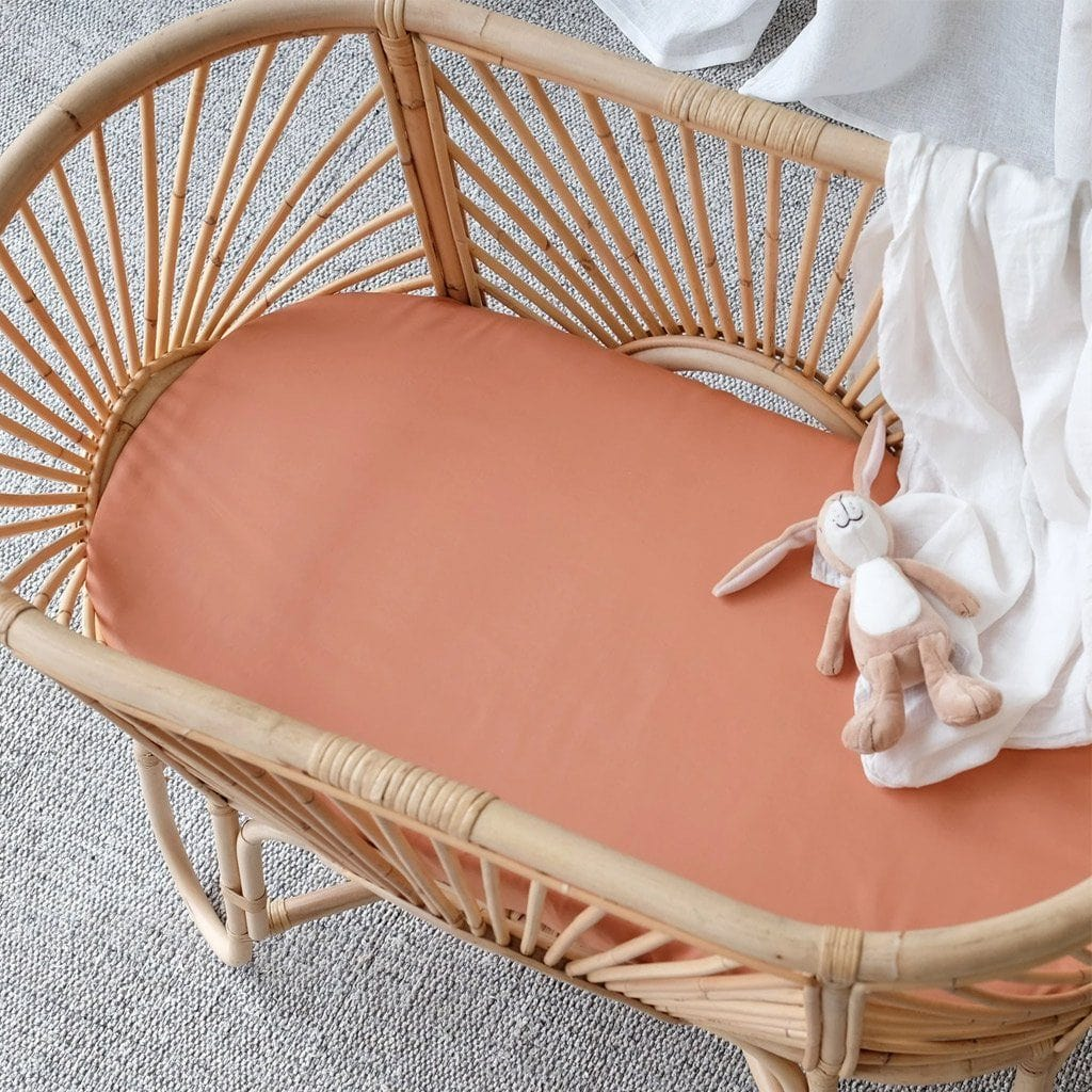 Organic Bamboo Bassinet Fitted Sheet : Nutmeg Sheet Mulberry Threads