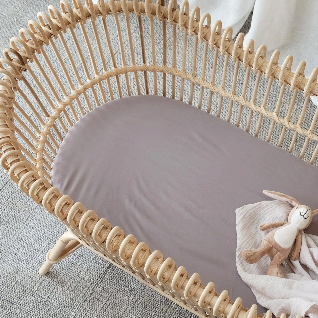 Organic Bamboo Bassinet Fitted Sheet : Steel Sheet Mulberry Threads