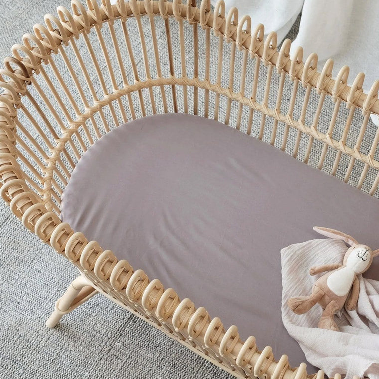 Organic Bamboo Bassinet Fitted Sheet : Steel