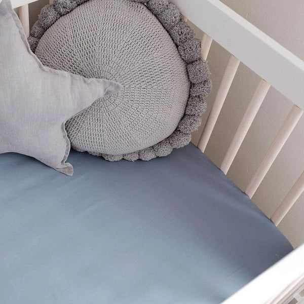 Organic Bamboo Cot Fitted Sheet : Chambray Sheet Mulberry Threads
