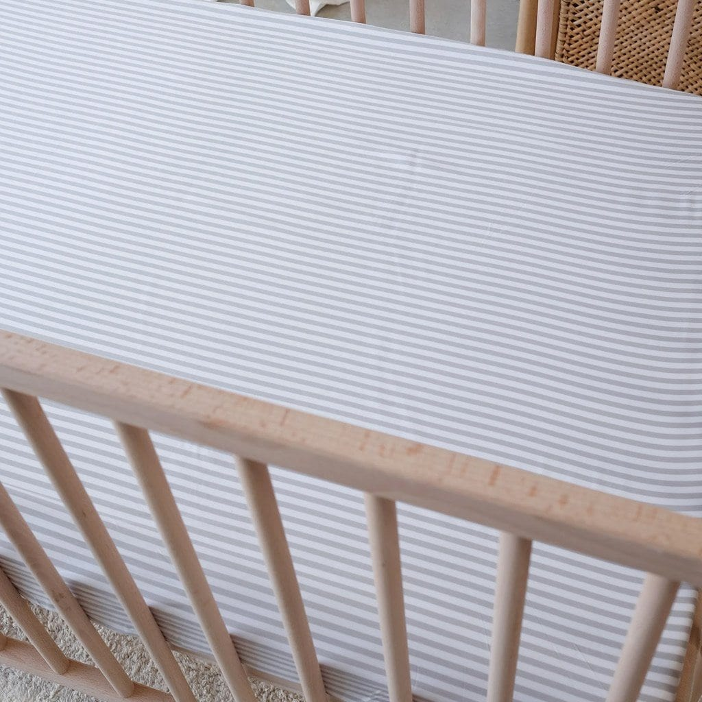 Organic Bamboo Cot Fitted Sheet : Fog Stripe Sheet Mulberry Threads