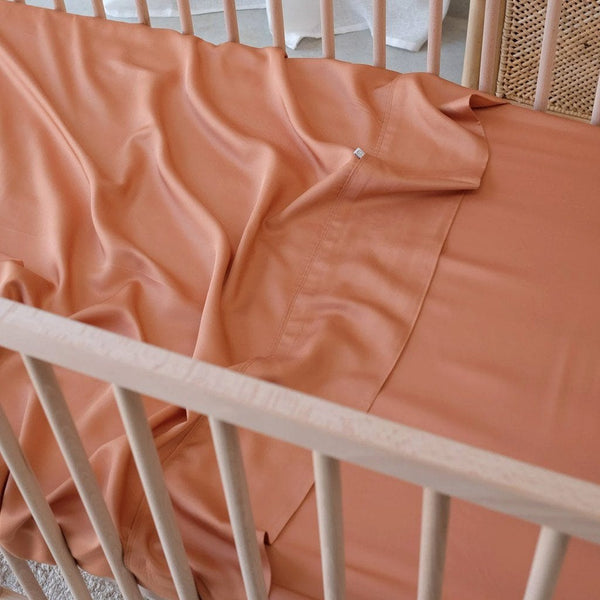 Organic Bamboo Cot Flat Sheet : Nutmeg Sheet Mulberry Threads