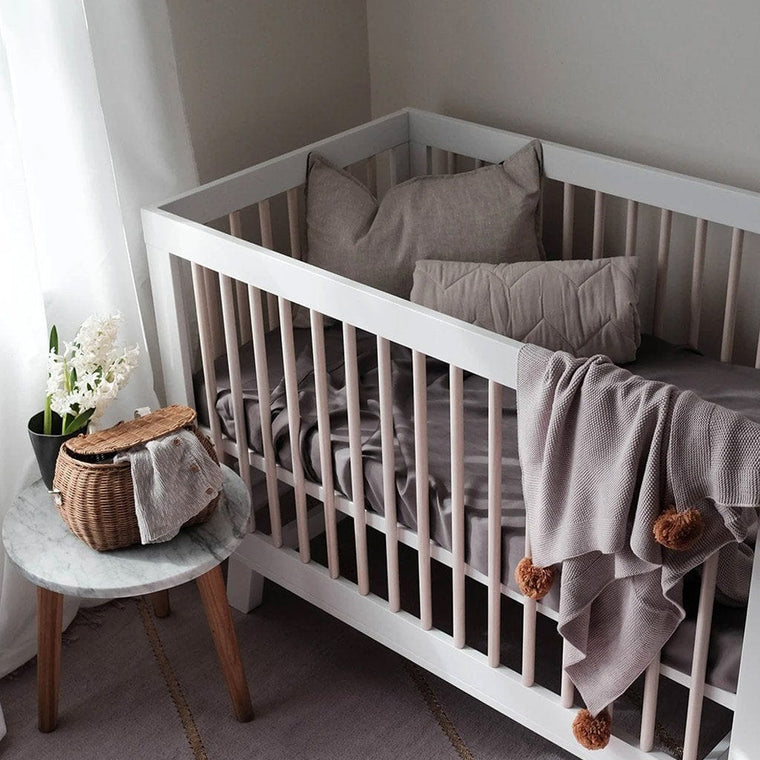 Organic Bamboo Cot Fitted Sheet : Steel