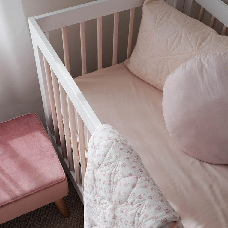 Organic Bamboo Cot Fitted Sheet : Blush