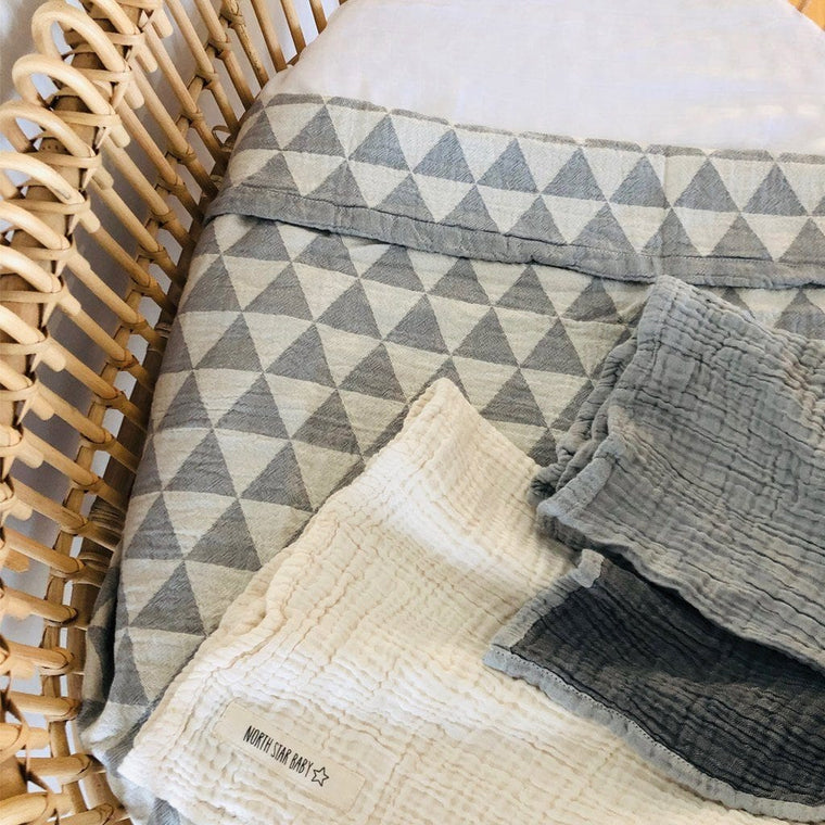 Cotton Bassinet Blanket : Hills Grey