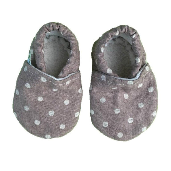 Baby Booties - Linen Spot Blush Baby Booties Pretty Kiwi