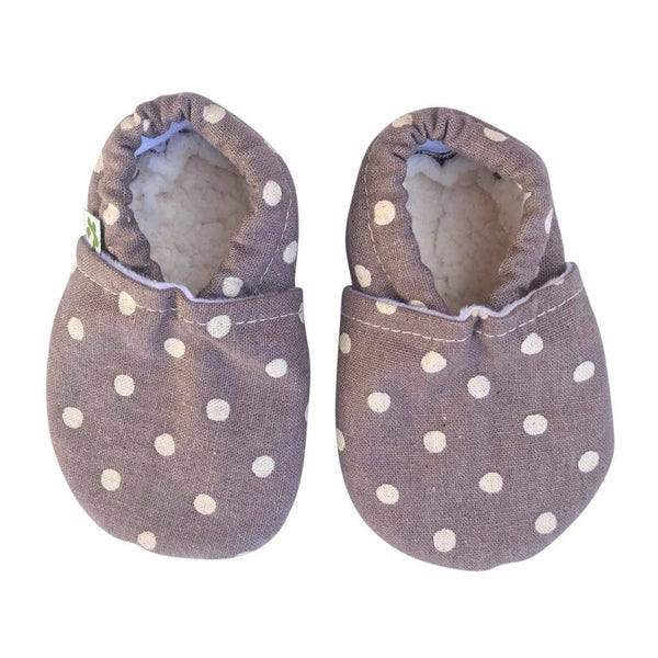 Baby Booties - Linen Spot Mushroom Baby Booties Pretty Kiwi