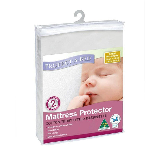 Bassinet Cotton Terry Fitted Mattress Protector Protect-A-Bed®