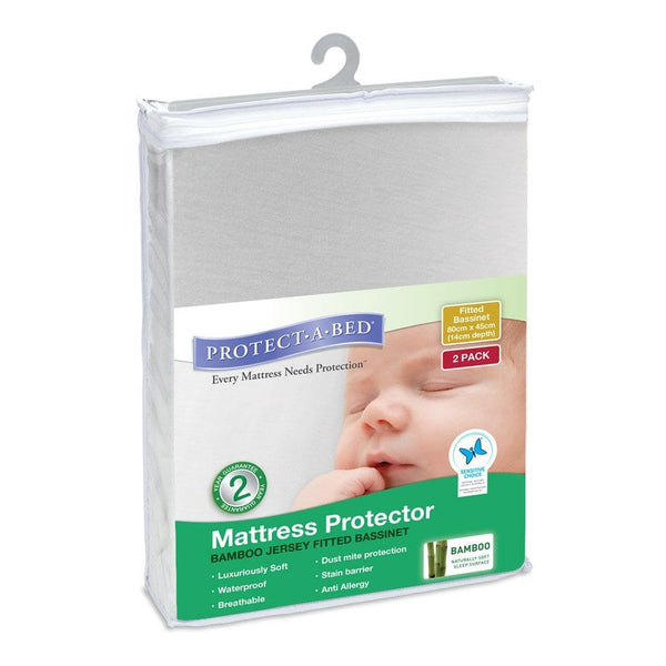 Protect A Bed Bassinet Bamboo Jersey Fitted - Two Pack - Ecosprout - New Zealand