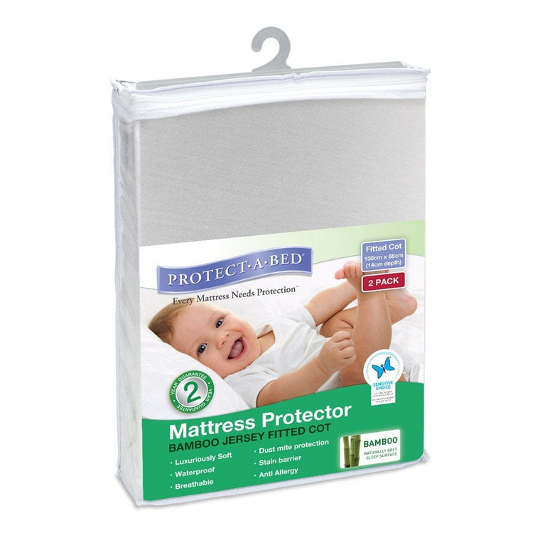 Protect A Bed Cot  Bamboo Jersey Fitted - Two Pack