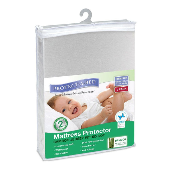 Protect A Bed Cot  Bamboo Jersey Fitted - Two Pack - Ecosprout - New Zealand