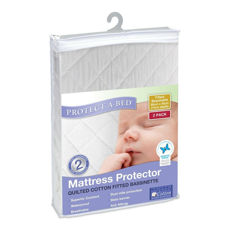 Protect A Bed Bassinet Cotton Quilted Fitted - Two Pack