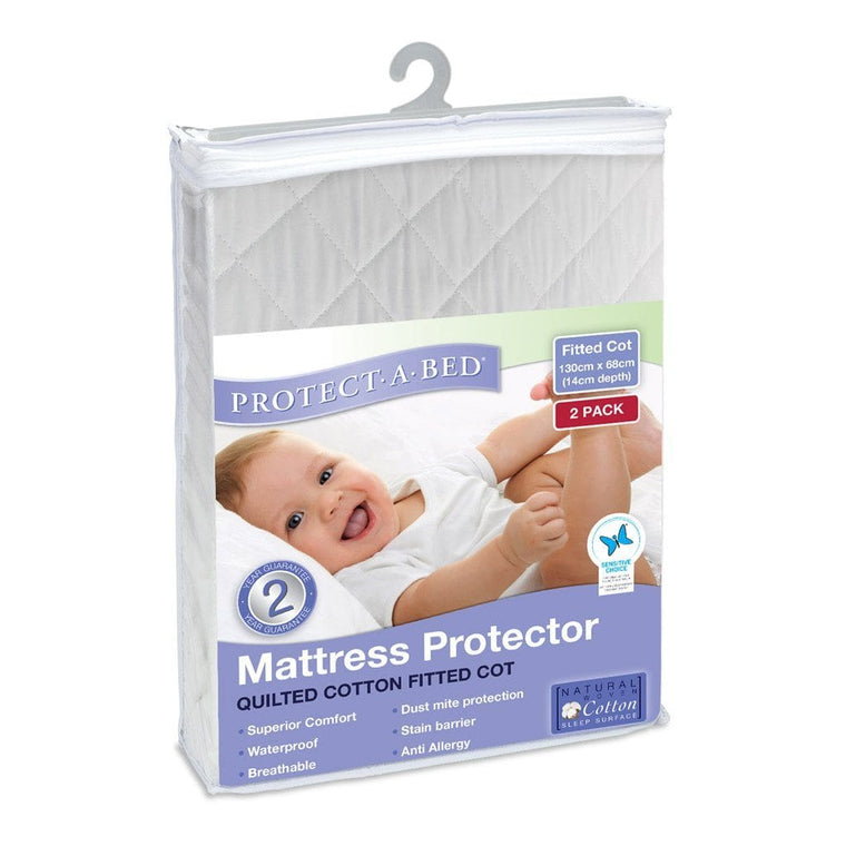 Protect A Bed Cot Cotton Quilted Fitted - Two Pack