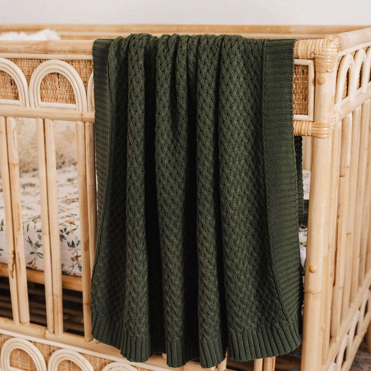 Cotton Diamond Knit Baby Blanket : Olive