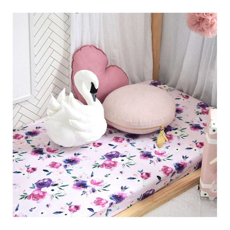 Fitted Cot Sheet : Floral Kiss