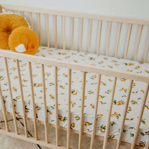 Fitted Cot Sheet : Lemon Sheet Snuggle Hunny Kids