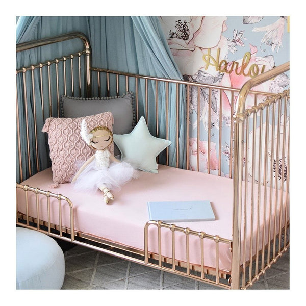 Fitted Cot Sheet : Lullaby Pink Sheet Snuggle Hunny Kids