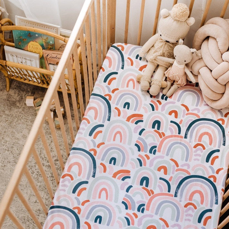 Fitted Cot Sheet : Rainbow Baby