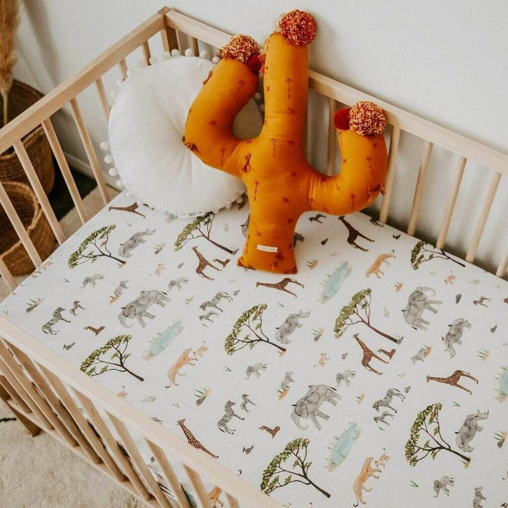 Fitted Cot Sheet : Safari Sheet Snuggle Hunny Kids
