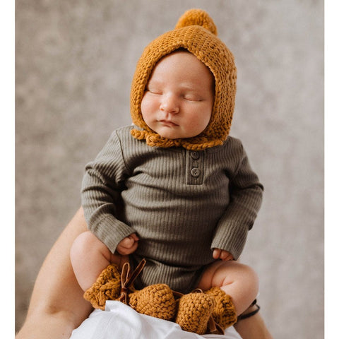 Merino Bonnet and Booties Set : Bronze Baby Accessory Snuggle Hunny Kids