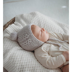 Merino Bonnet and Booties Set : Grey Baby Accessory Snuggle Hunny Kids