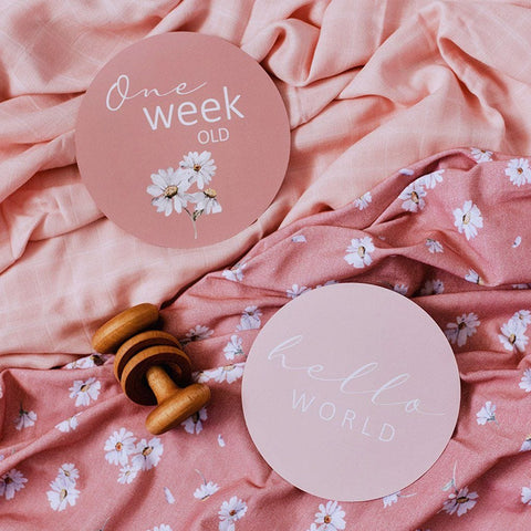 Milestone Cards : Daisy & Musk Pink Baby Accessory Snuggle Hunny Kids