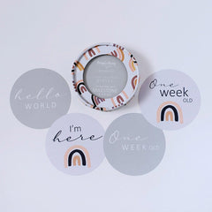 Milestone Cards : Sunset Rainbow & Silver Baby Accessory Snuggle Hunny Kids