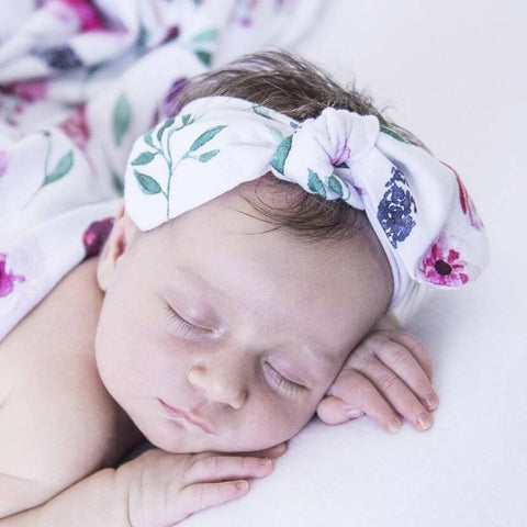 Topknot Headband: Peony Bloom Baby Accessory Snuggle Hunny Kids