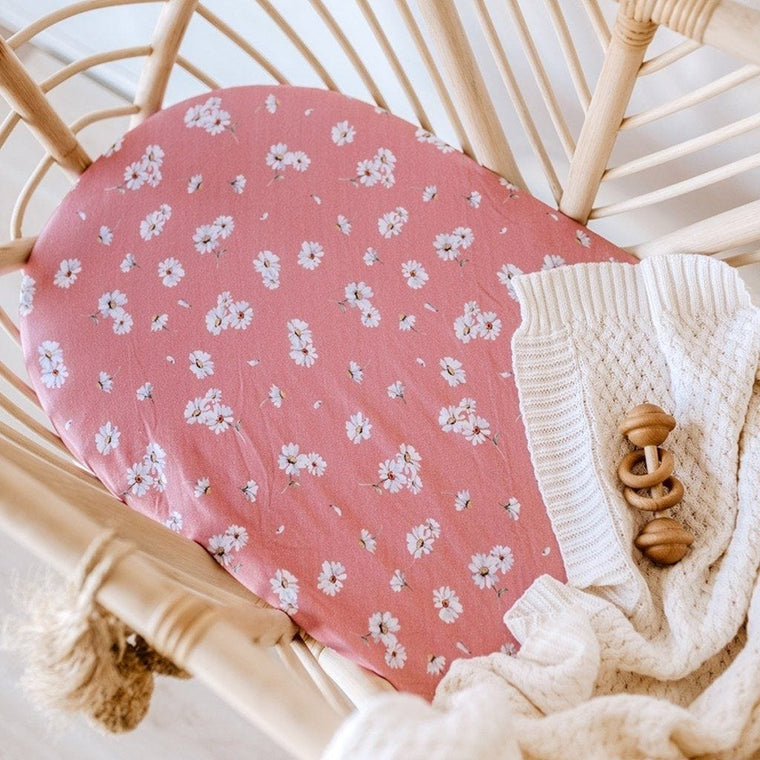 Jersey Fitted Bassinet Sheet : Daisy