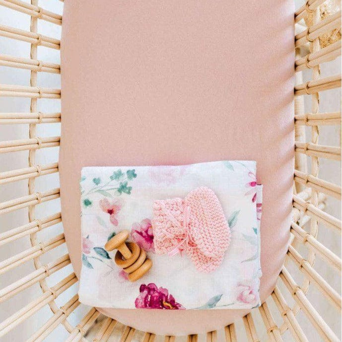 Jersey Fitted Bassinet Sheet : Lullaby Pink