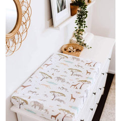 Jersey Fitted Change Mat / Pad Cover : Safari Sheet Snuggle Hunny Kids