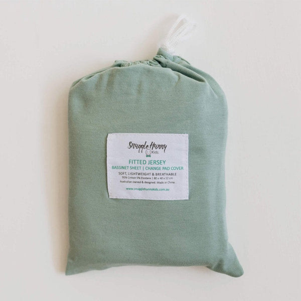 Jersey Fitted Change Mat / Pad Cover : Sage Sheet Snuggle Hunny Kids