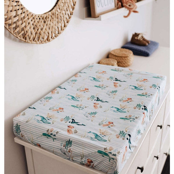 Jersey Fitted Change Mat / Pad Cover : Whale Sheet Snuggle Hunny Kids