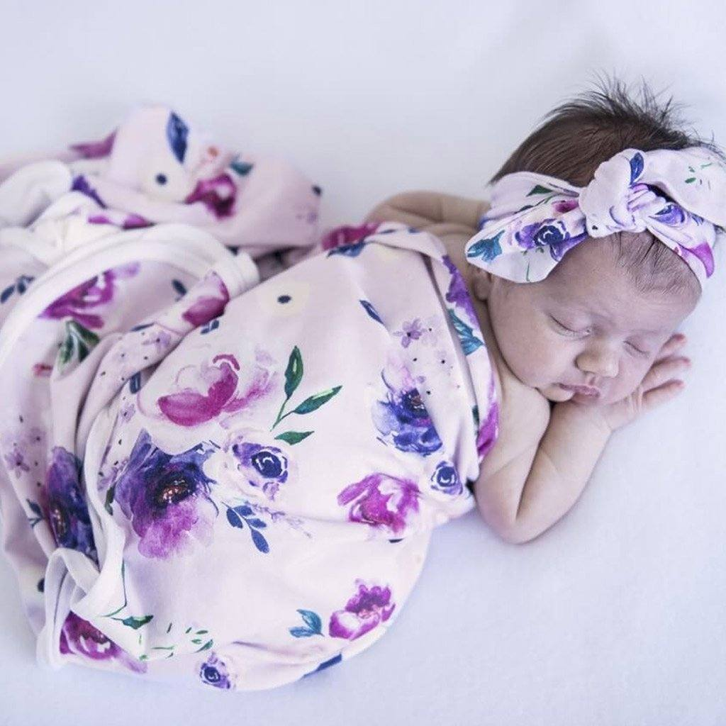 Jersey Wrap & Topknot Set : Floral Kiss