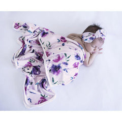 Jersey Wrap & Topknot Set : Floral Kiss Wraps Snuggle Hunny Kids