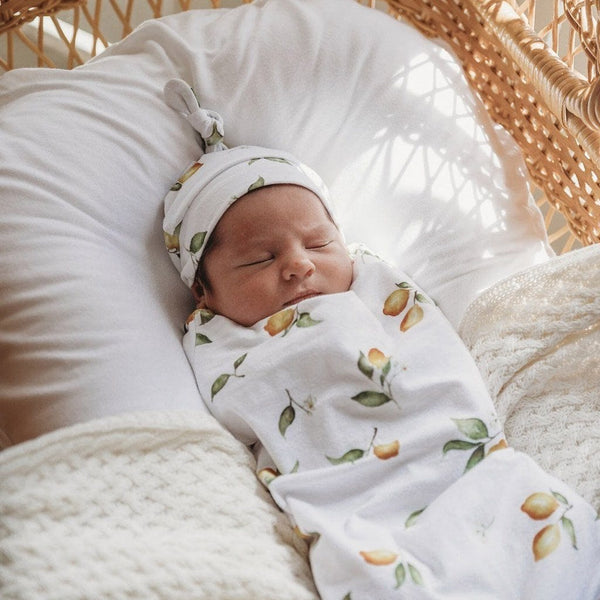 Swaddle Pouch & Beanie Set : Lemon Wraps Snuggle Hunny Kids