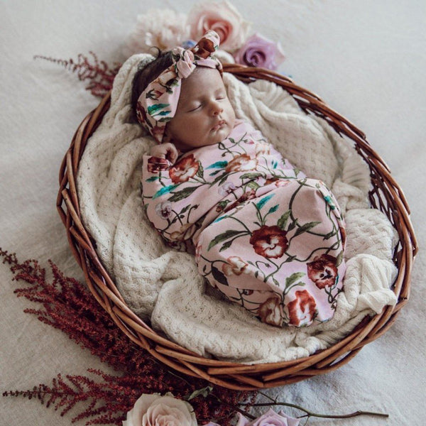 Swaddle Pouch & Headband Set : Pansy Heart