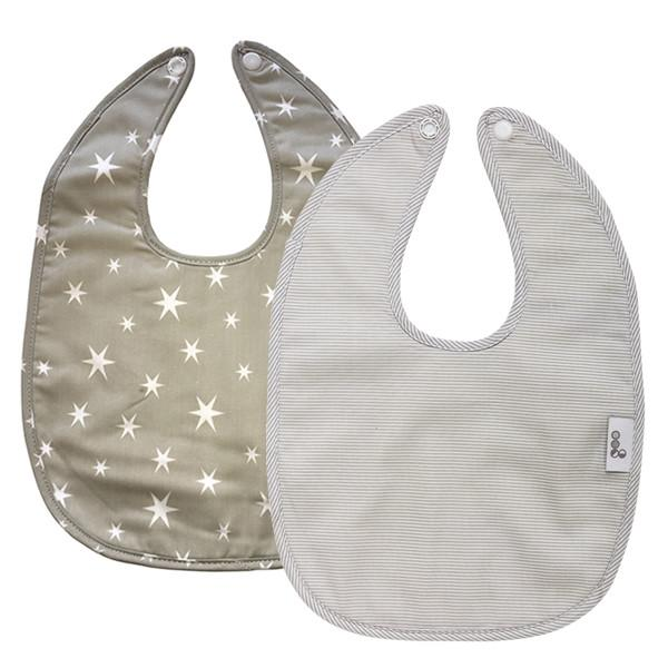 Goo Organic Cotton Baby Bib 2 Pack - Starry Night Grey / Summer Rain Grey