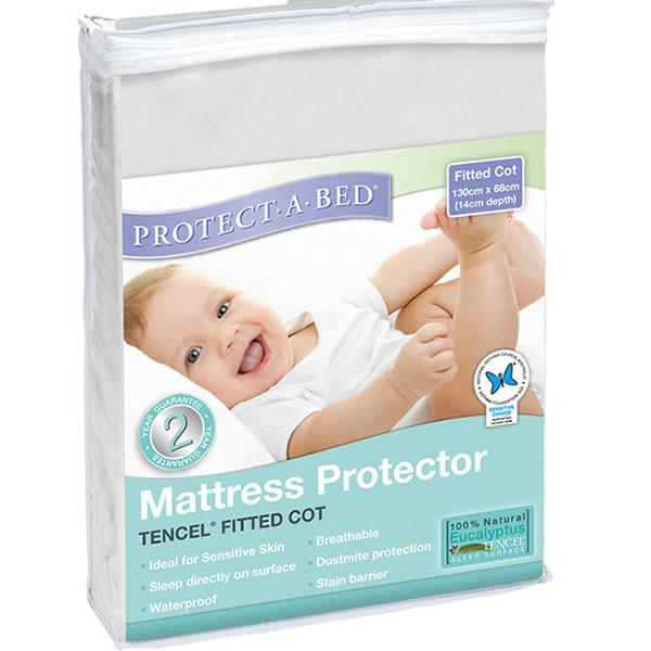 Protect A Bed Cot USA Std White Tencel Fitted